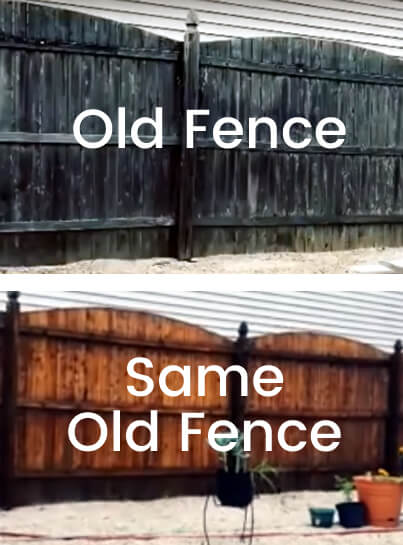 pressure washing wood fence before and after