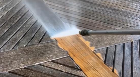 pressure washing wood deck furniture