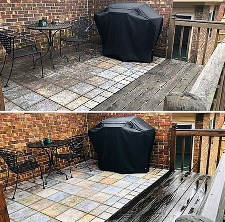 Before/after deck and patio pressure washing to remove mold, moss, stains located in Atlanta