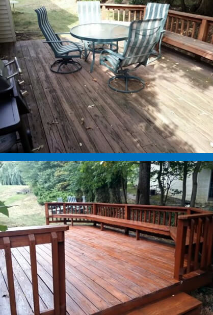 Before and After Deck-Wilsons Power Washing and Sealing-Mr Dirt Blaster Partner Washington DC