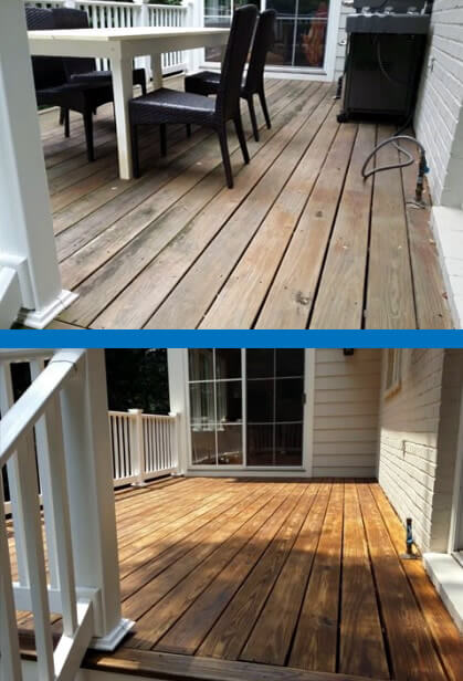 Before and After Deck-Wilsons Power Washing and Sealing-Mr Dirt Blaster Pressure Washing Partner Washington DC