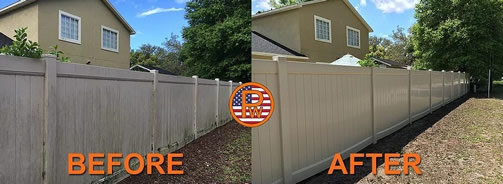 Before After Fence Cleaning-Orange Pressure Washing Orlando as a Mr Dirt Blaster Local Partner
