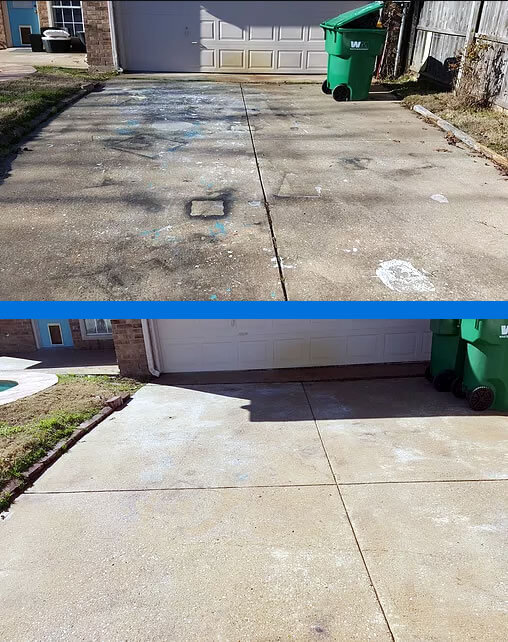 Before After Cleaning Concrete Driveway-Park Cities Power Wash Mr Dirt Blaster Local Partner Dallas