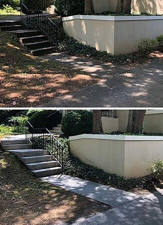 Before and after cleaning concrete stairs and sidewalk to remove dirt, moss, lichen and stains