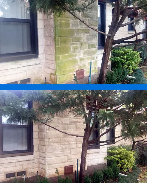 Before and After Pressure Cleaning Stone Chimney - Park Cities Power Wash Mr Dirt Blaster Local Partner Dallas