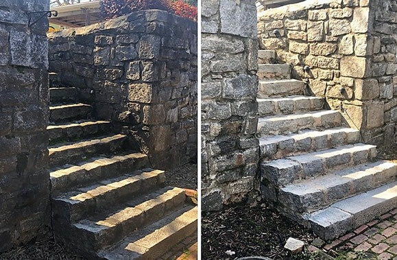 Power Washing Stone Staircase Before and After