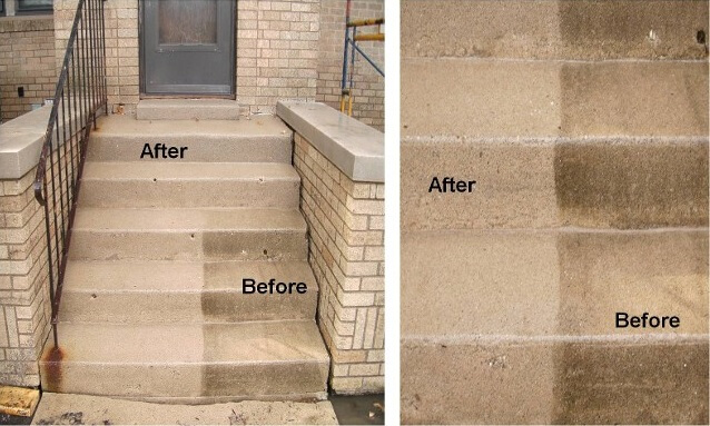 Mr Dirt Blaster Bloomington IL Before After Power Washing Concrete
