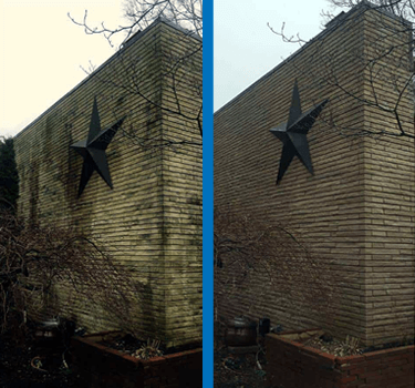 Mr Dirt Blaster Cleveland Pressure Washed Brick Wall Before After