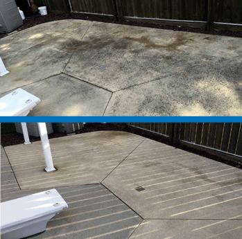 Mr Dirt Blaster Cleveland Pressure Washed Pool Deck Before After