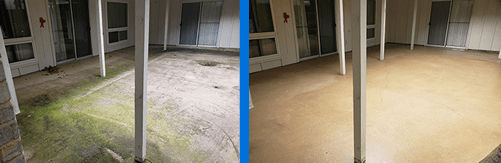 Mr Dirt Blaster Fort Worth Power Washed Patio Before After