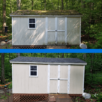 Mr Dirt Blaster Hartford Shed Cleaned with Pressure Washing Before After
