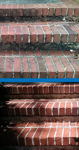 Mr Dirt Blaster Jacksonville Brick Steps Before After Pressure Washing