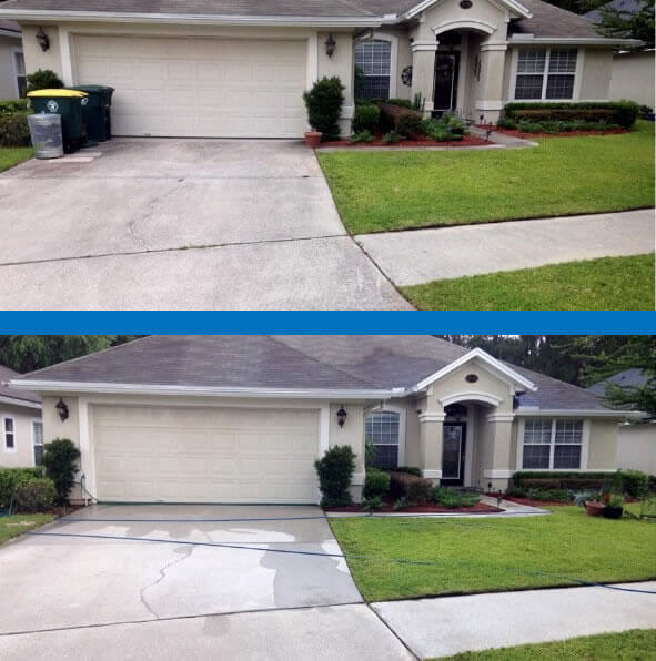 Mr Dirt Blaster Jacksonville Driveway Pressure Washing Before After