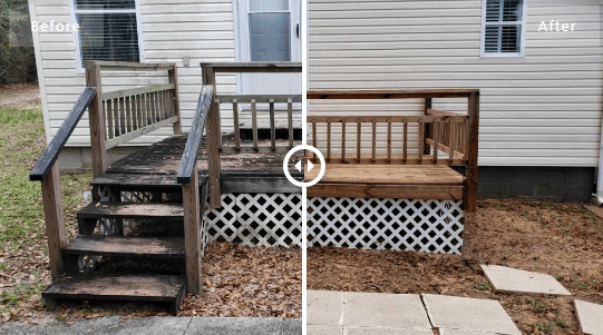 Mr Dirt Blaster Local Partner Pensacola Power Washed Deck Before After