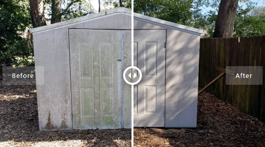 Mr Dirt Blaster Local Partner Pensacola Pressure Wash Shed Before After
