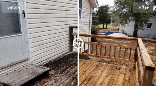 Mr Dirt Blaster Local Partner Pensacola Pressure Washed Deck Before After