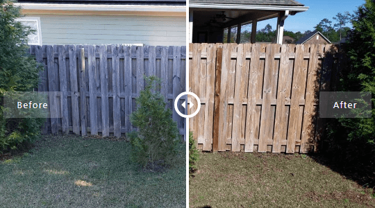 Mr Dirt Blaster Local Partner Pensacola Pressure Washed Wood Fence Before After
