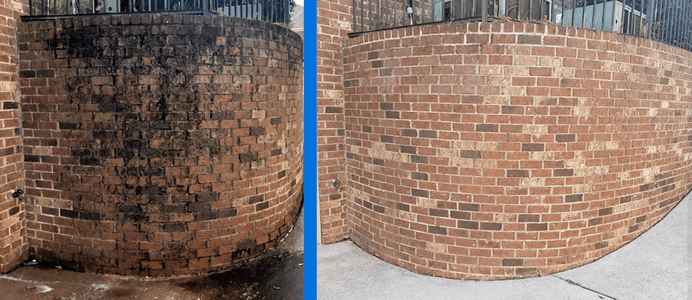 Mr Dirt Blaster Mobile Brick Wall Pressure Washing Before After