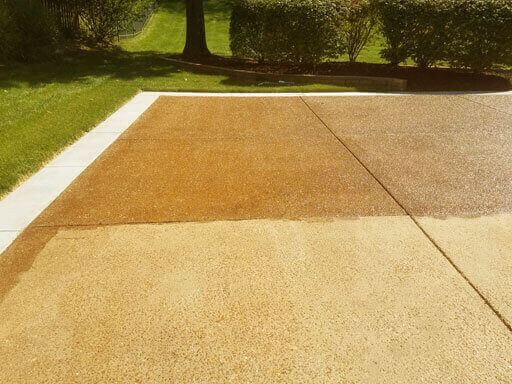 Mr Dirt Blaster St Louis MO Before After Pressure Washing Concrete Driveway