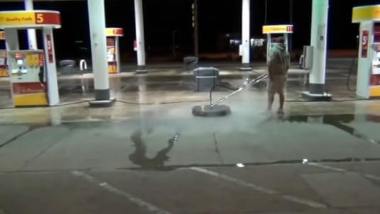 Pressure Washing Gas Station Pump Parking