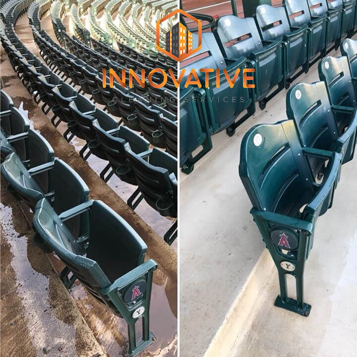 Pressure Wash Stadium Seating Before and After - Innovative Cleaning Svs - Mr Dirt Blaster Local Partner