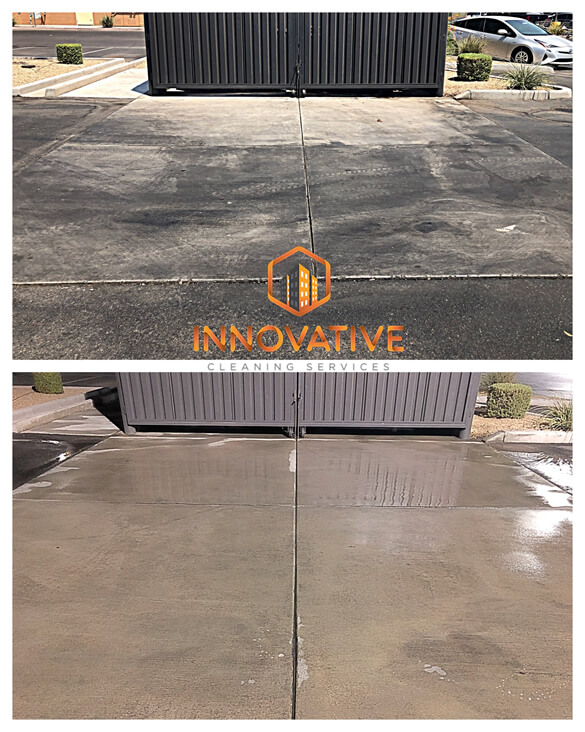 Pressure Wash Trash Dumpsters Before After - Innovative Cleaning Svs - Mr Dirt Blaster Local Partner
