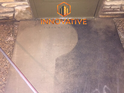 Pressure Washing Concrete Walkway Before and After - Innovative Cleaning Svs - Mr Dirt Blaster Partner