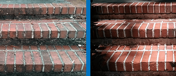 Before and after cleaning brick stairs to remove mold, moss, lichen and stains