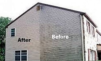 Pressure Washed Siding Before and After in Dubuque, IA